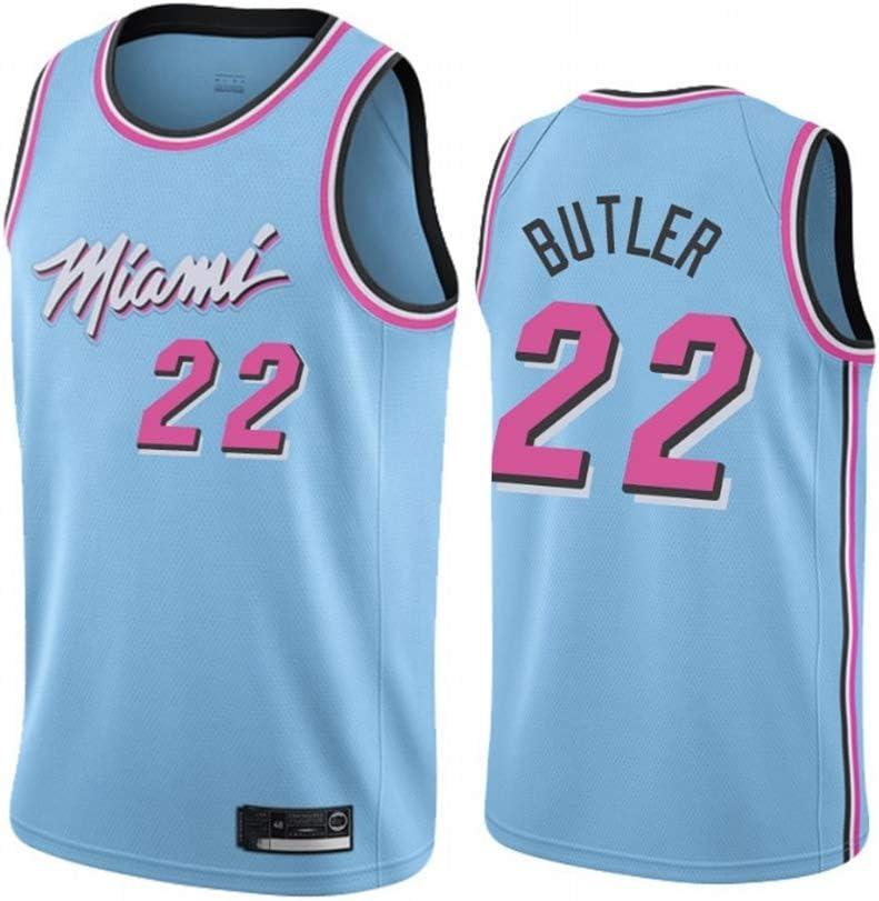 Transpirables Mangas Ropa del Entrenamiento del Chaleco Tapas de Aficionados para el Baloncesto XH-CHEN Los Hombres de Camiseta de la NBA Miami Heat # 22 de Butler Retro Bordado Jersey