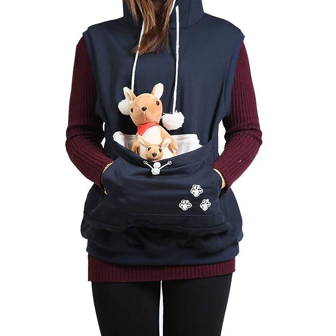 Chaleco Mujer Otoño Invierno Elegantes Chaqueta con Capucha Sin Mangas con Bolsillo Canguro Fashion Casuales Hipster