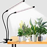 LED Grow Light,6000K Full Spectrum Clip Plant Growing Lamp with White Red LEDs for Indoor Plants,5-Level Dimmable,Auto On Off