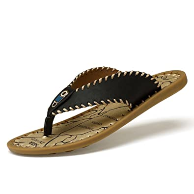e3fbdf7ec816 Men s Flip-Flops Thongs Sandals Rubber Sole Heavy Duty Light Weight Shock  Proof Beach Slippers