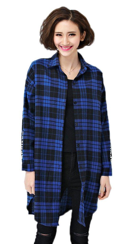 Toyobuy Women Slim Fit Plaid Patterned Shirt Long Sleeve Button-End Coat Blue L