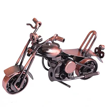 wolike motocicleta modelo mano soldadura hierro manualidades Retro modelo de motocicleta regalo preferido MT004, marrón
