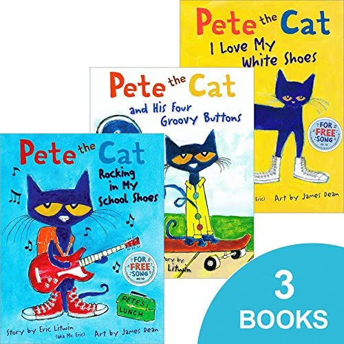 Pete the Cat Set (Pete the Cat I Love My White Shoes, Pete the Cat Rocking in My School Shoes,...