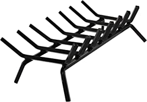 """INNO STAGE Fire Wood Log Grate for Fireplace, 24"""" Cast Wrought Iron Grill Grate for Outdoor Camping Cooking, Solid Steel Andirons Firewood Stove Burning Rack Holder for Hearth or Fire Pit"""