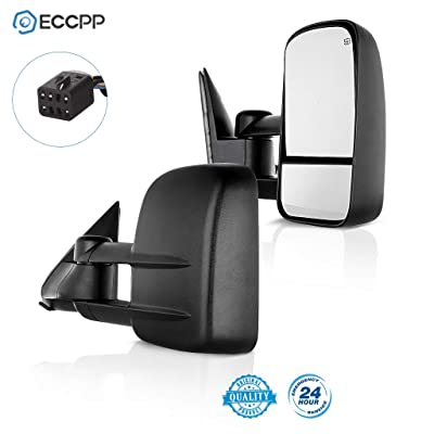 ECCPP Towing Mirrors for Chevy Chevrolet Silverado Tahoe Suburban GMC Sierra Yukon XL Black Power Heated Towing Side Mirrors 2000 2001 2002: Automotive