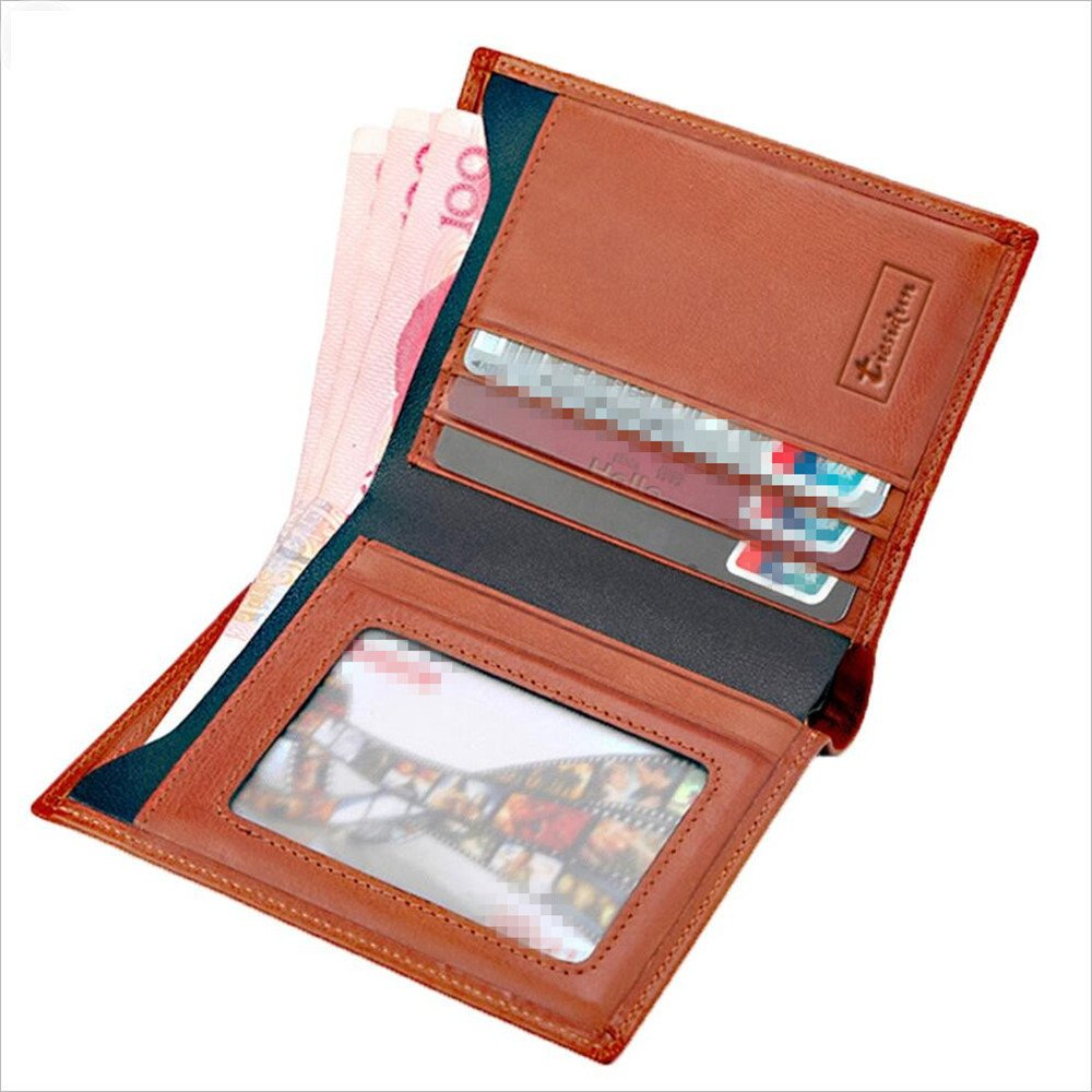 Amazon.com: Canyixiu Mens Vintage Leather Short Wallet Business Vertical Purse Red Brown: Home & Kitchen