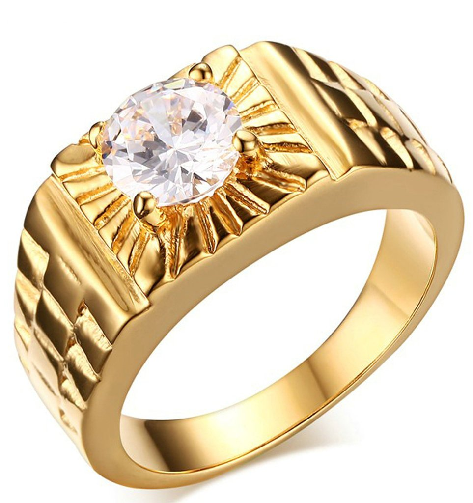 Adisaer Men's Stainless Steel Promise Ring Cubic Zirconia CZ Band Gold Plated Size 7 Comfort Fit