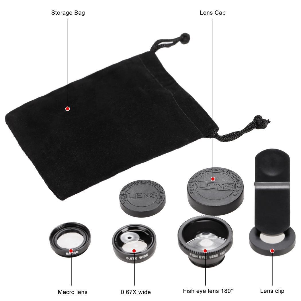 koede 3 en 1 Ojo de pez Gran /ángulo Macro c/ámara Lente Kit Clip para el tel/éfono Celular m/óvil Cables