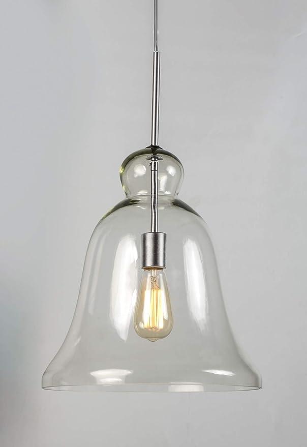 Maxim 10097clsn Annabelle Glass Bell Pendant Ceiling Light 1 Light 60 Watt 16 H X 14 W Satin Nickel Amazon Com