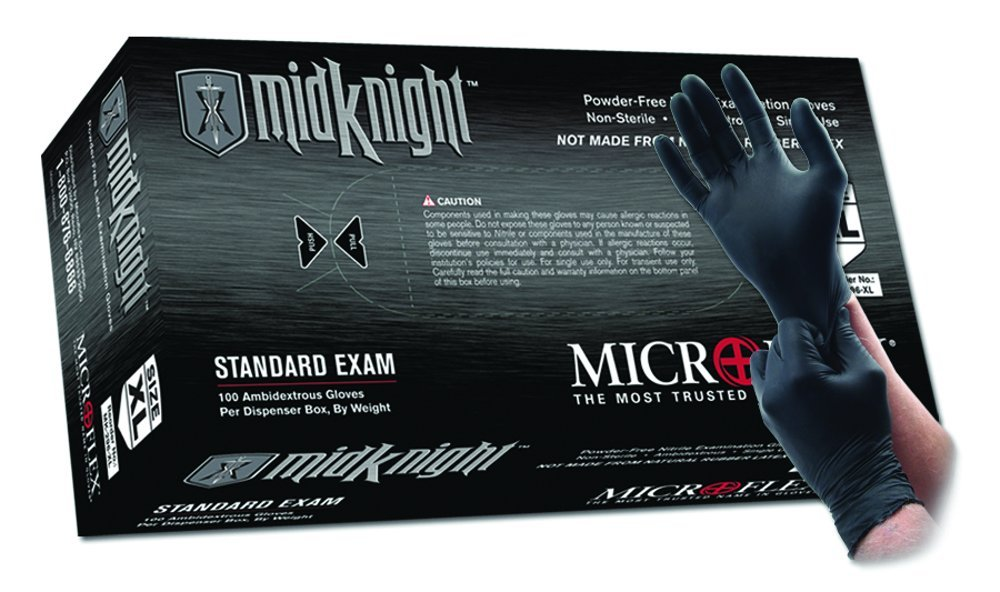 Microflex MK-296-XL MidKnight Black, Powder-Free Exam Gloves, XL, Nitrile (Pack of 100)
