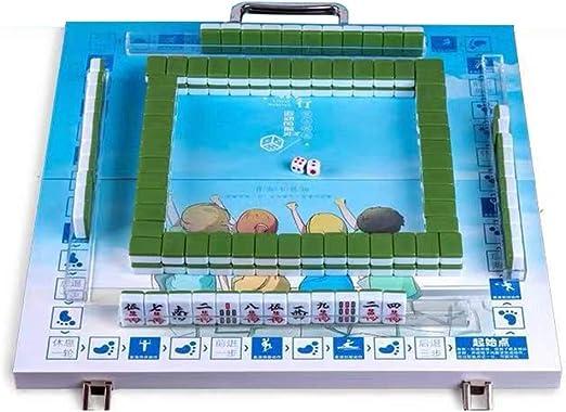 Juegos de Mesa Mahjong Chinese Mahjong Portable Mahjong Set Free Mahjong Game Home Juegos De Mesa Casuales 144 Hojas (Color : Green, Size : 2.2cm): Amazon.es: Hogar