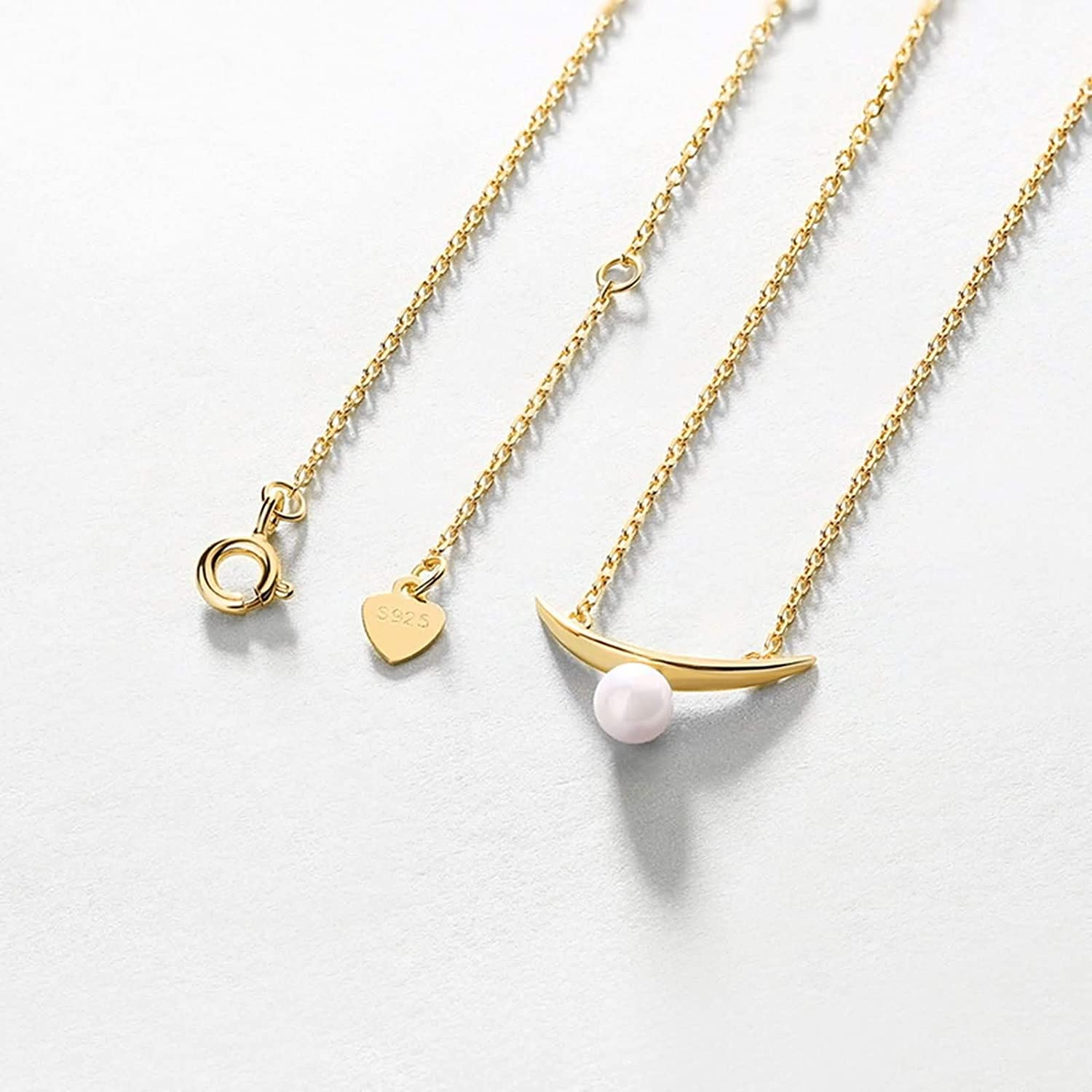 Epinki 925 Sterling Silver Necklace for Women Girls Gold Pearl Crescent Pendant Necklace