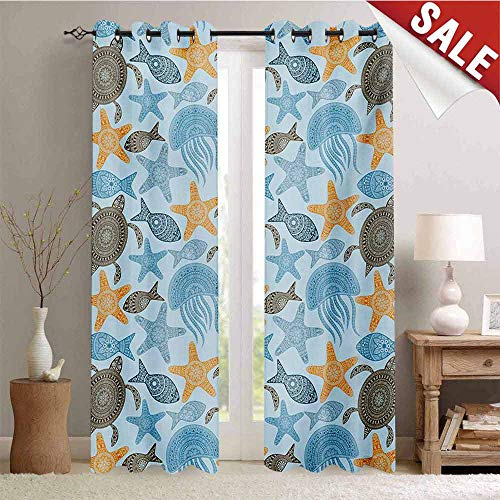 Hengshu Starfish Blackout Draperies for Bedroom Nature Sea Animals Collection with Ethnic Tribal Mandala Inspired Motifs Artwork Thermal Insulating Blackout Curtain W96 x L108 Inch Multicolor