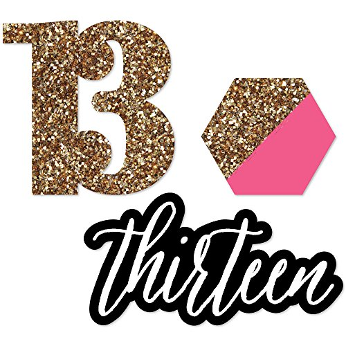 Big Dot of Happiness Chic 13th Birthday - Pink, Black and Gold - DIY Shaped Birthday Party Cut-Outs - 24 Count