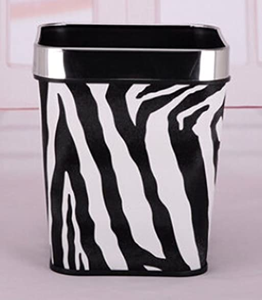 European Fashion Without Cover Trash Bins Kitchen Bathroom Square Trash Can  Small (Zebra)