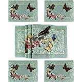 """FLORAL HOME DESIGN Butterfly Green Table Runner And Placemat For Dinner Table And Kitchen Table ,Set of 4 13""""*17"""" Placemats And 1 13""""*70 Table Runner."""