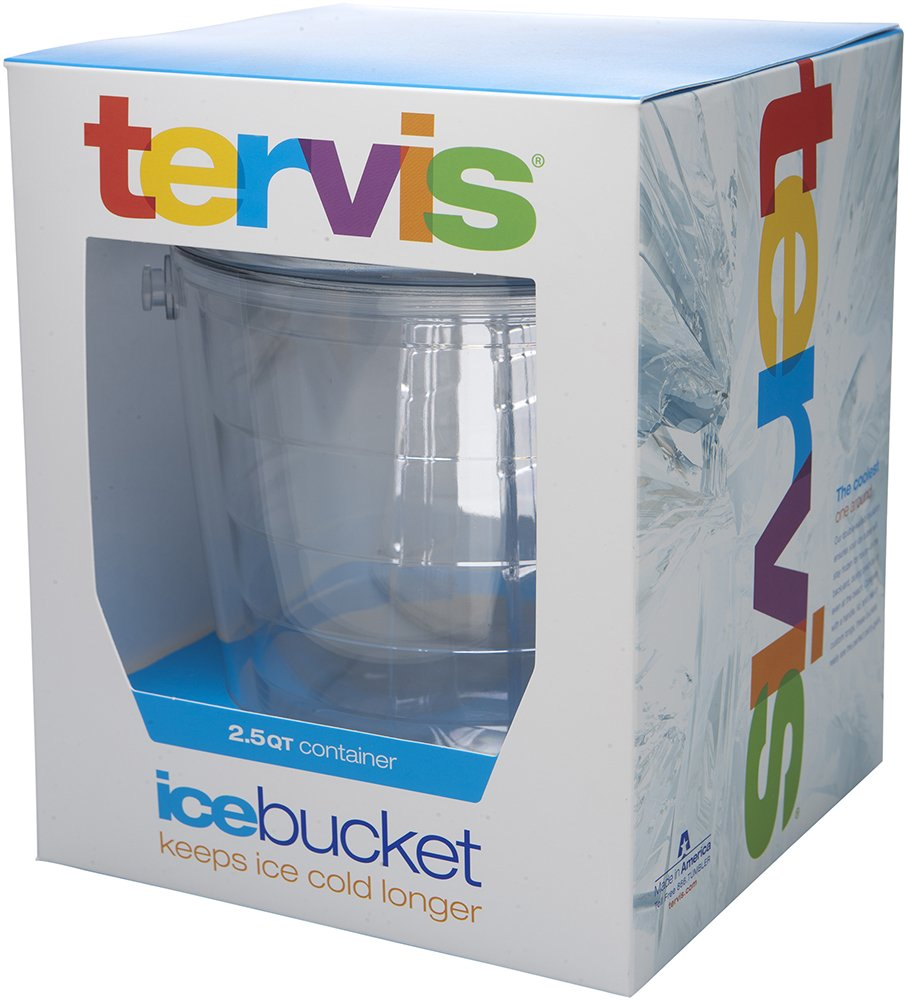 Tervis 1001842 Colorful Insulated Ice Bucket and Tongs Lid-Boxed, 87 oz, Clear