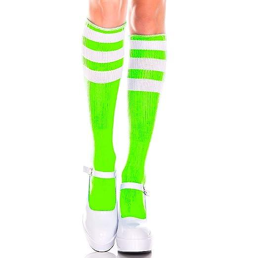 b13ea49ca23 Amazon.com  Music Legs 5726-NEON Green-WHI Acrylic Knee High Socks ...