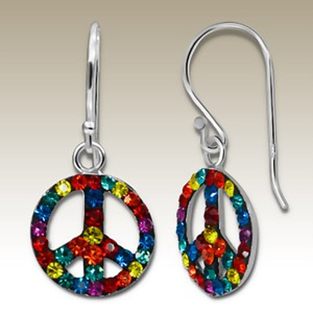 Peace Crystal Silver Earrings, Multicolour Crystals, Stering Silver (E15272)