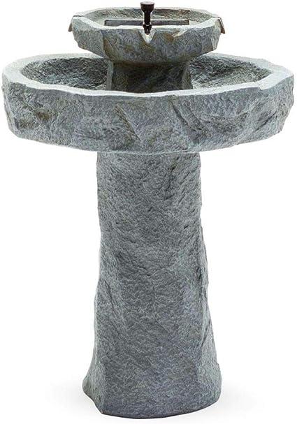 BS Rustic Solar Outdoor Bird Bath On Demand Stone 2 Tier Patio Rock Fountain Pedestal Birdbath Bowl Garden Decor Backyard Lawn Resin Stone Fountain Pump/& eBook by BADA Shop