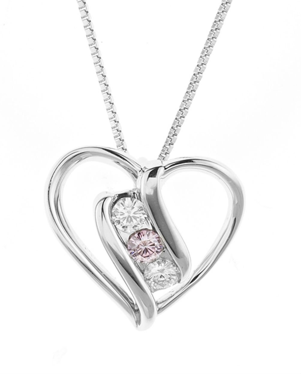Forever Classic Round 3.0mm Heart Moissanite Pendant Necklace, 0.30cttw DEW By Charles & Colvard