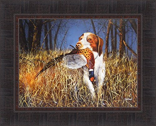 Brittany by Jim Hansel 17x21 Hunting Dog Spaniel Field Trees Pheasant Framed Art Print (Hunting Framed)