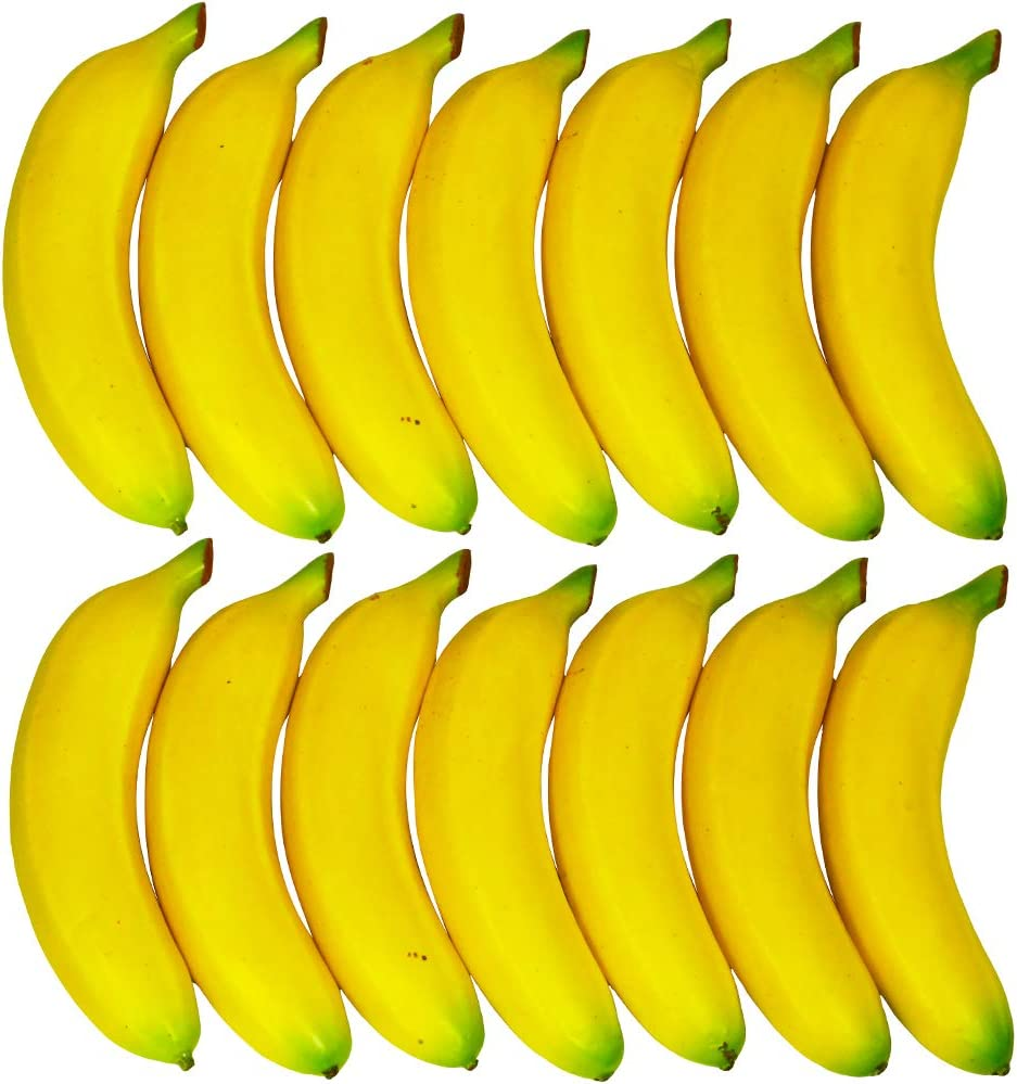 Winlyn 14 Pcs Artificial Bananas Yellow Realistic Fake Fruits Decorative Bananas Lifelike Simulation for Photo Props Bowl Basket Filler Fruit Display Kitchen Cabinet D/écor Still Life Painting