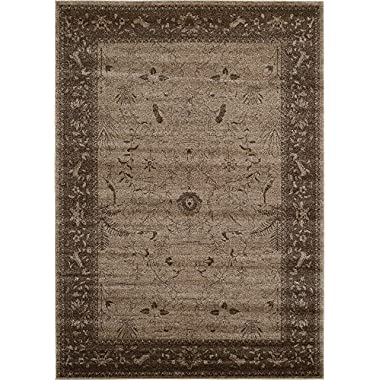 Modern Country Traditional 7 feet by 10 feet (7' x 10') La Jolla Brown Contemporary Area Rug