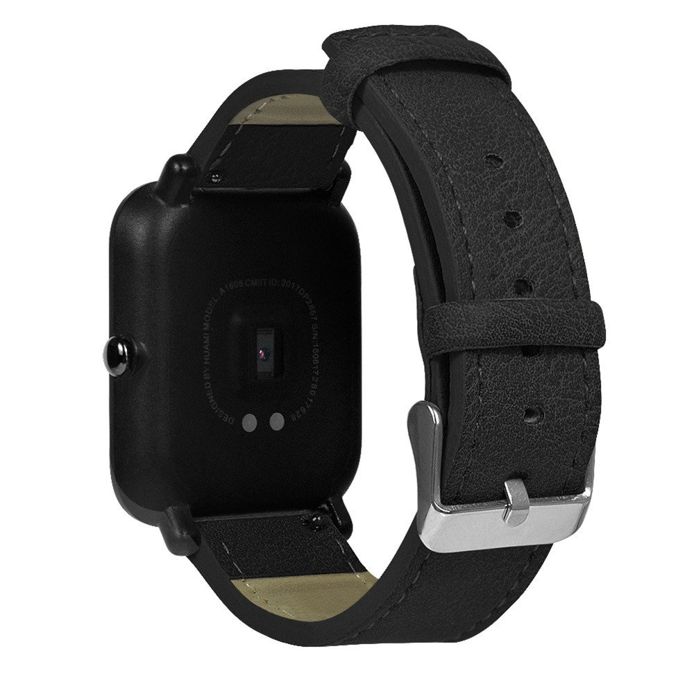 Compatible Xiaomi Huami Amazfit Bip Youth Watch Band Retro Leather Replacement Strap Replacement Bands for Huami Amazfit Bip Youth Watch, TLT Retail (Black) by TLT Retail (Image #3)