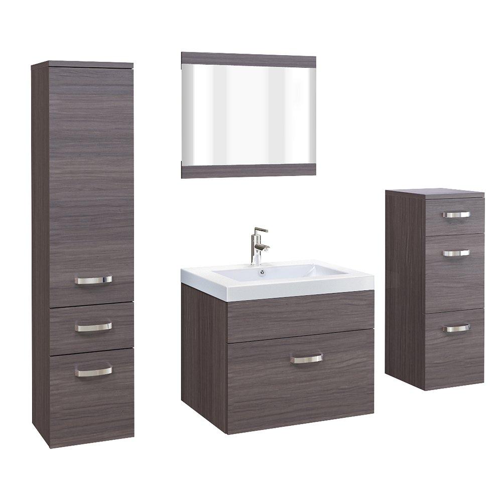 Badezimmermöbel braun  Badmöbel Badezimmer Set Badezimmermöbel Braun MDF Edel 5 teilig ...