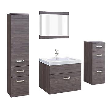 Badmöbel Badezimmer Set Badezimmermöbel Braun MDF Edel 5 Teilig Waschbecken  Spiegel Unterschrank Hochschrank (Eiche Braun