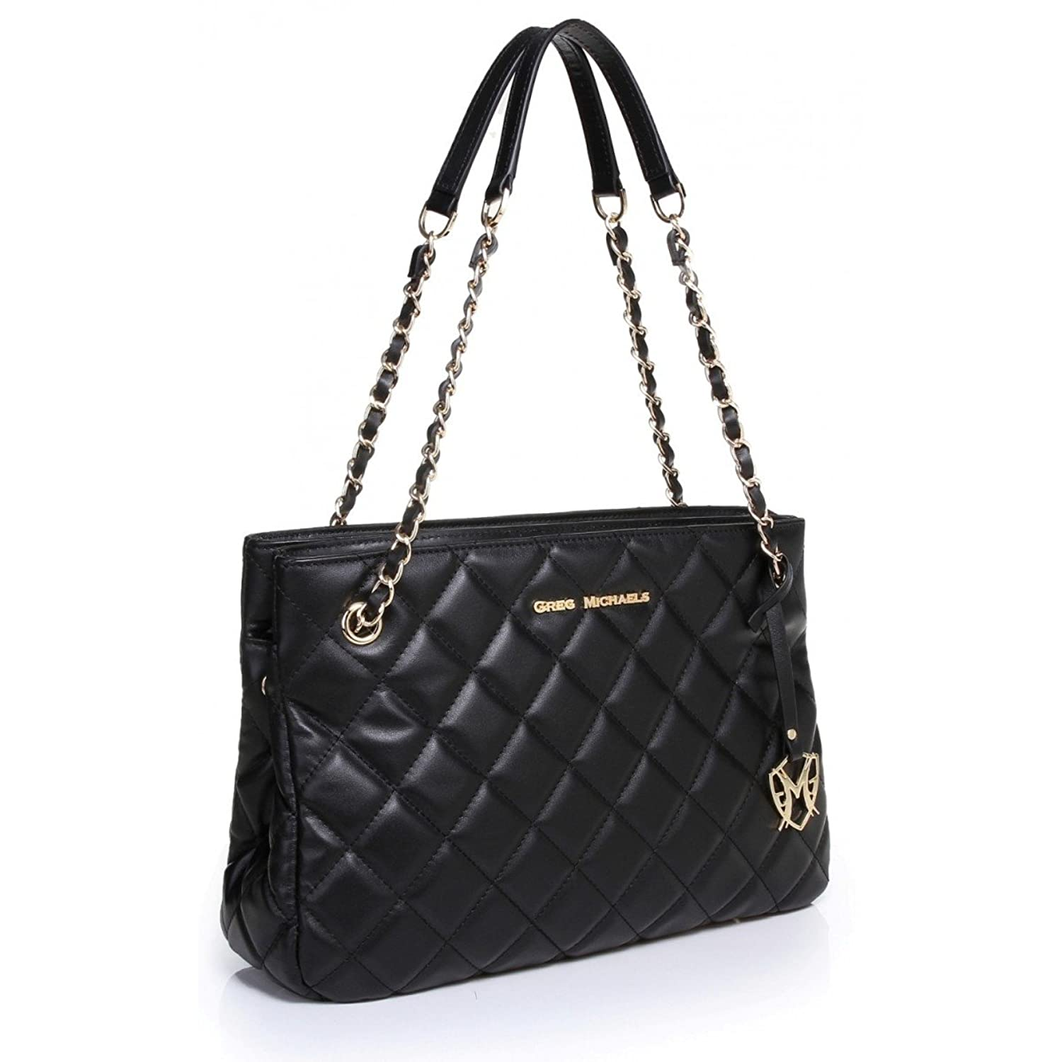 Greg Michaels Claudia Chain Black Quilted Genuine Nappa Leather Shoulder Tote