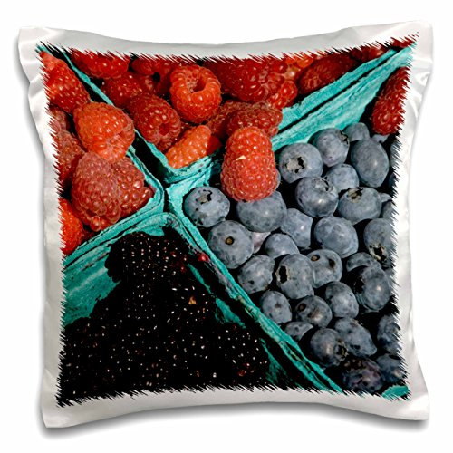 Danita Delimont - Markets - Oregon, Portland, Farmers market Berries - US38 AJN0024 - Alison Jones - 16x16 inch Pillow Case (pc_93403_1)