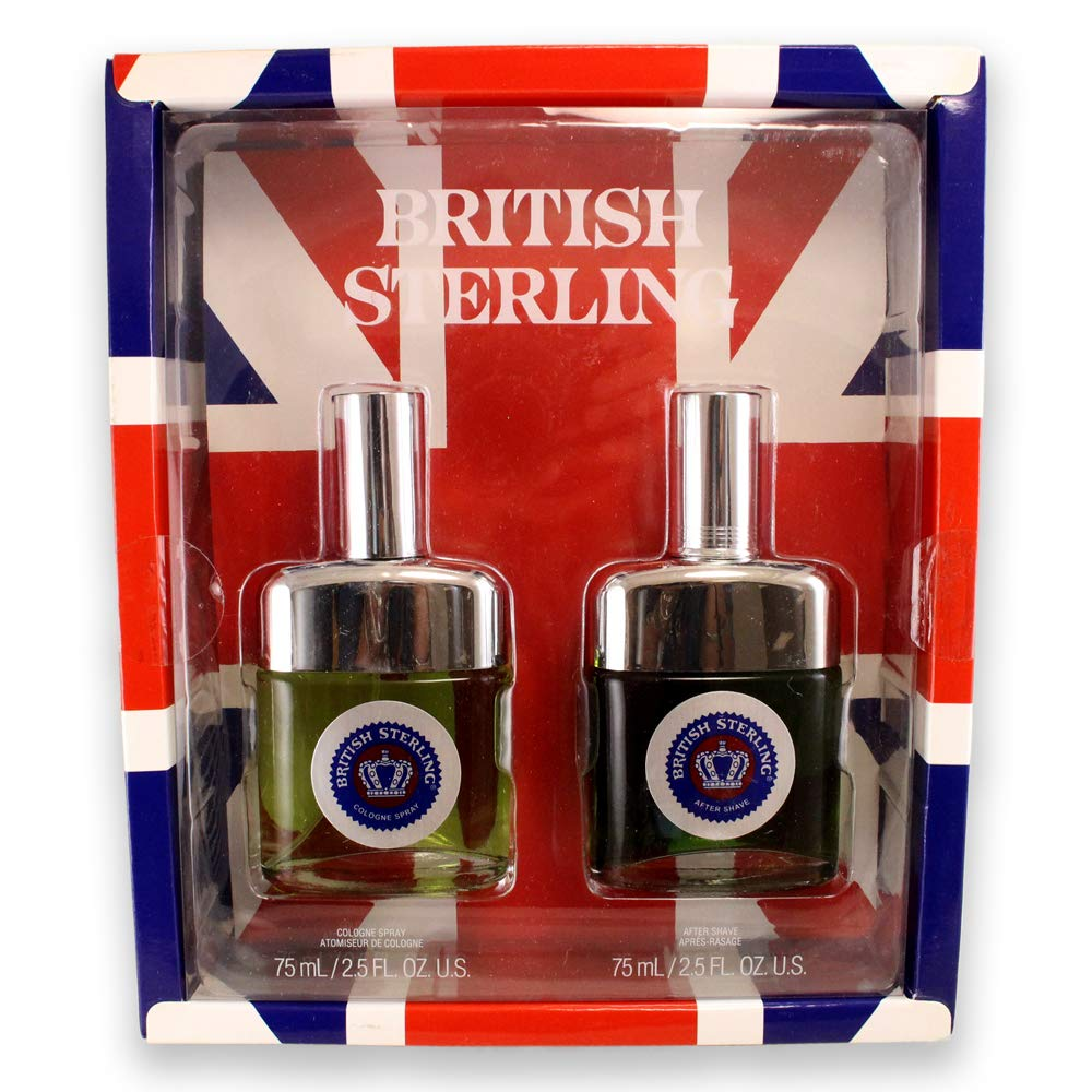 Dana British Sterling 2 Piece Gift Set Cologne Spray + Aftershave for Men, 2.5 Ounce
