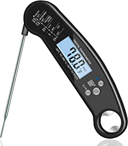Instant Read Meat Thermometer, Waterproof Ultra Fast Digital Food Cooking Thermometer, Backlight & Calibration for Kitchen BBQ Grill Smoker(black)
