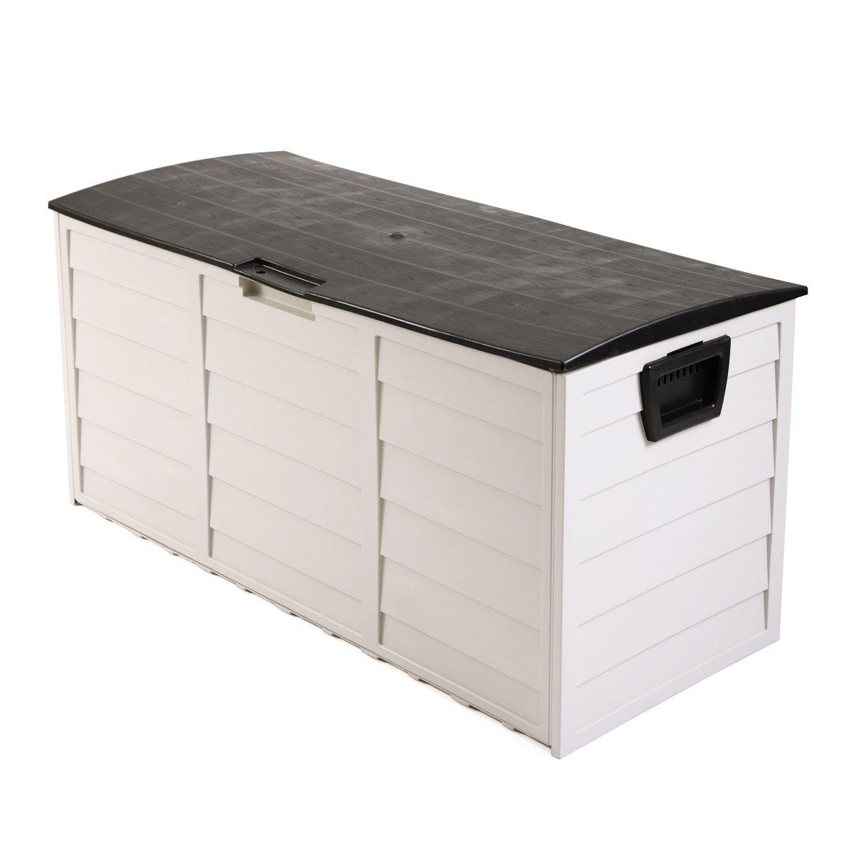 LAZYMOON Outdoor Deck Box Storage Bench Garden Patio Backyard Tool Equipment Container Utility, Gray/Black