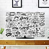 PRUNUS Cord Cover for Wall Mounted tv Computer Games Doodles Cover Mounted tv W35 x H55 INCH/TV 60''