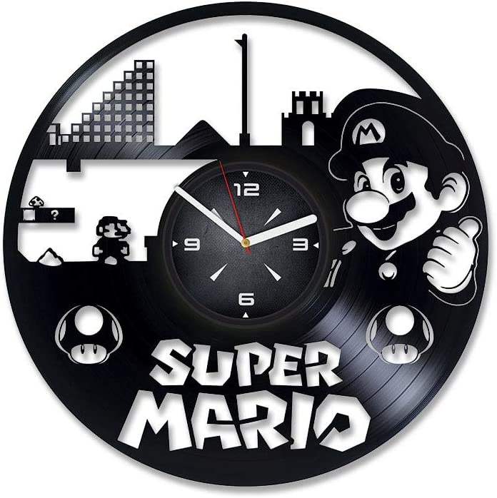 Super Mario Vinyl Record Wall Clock. Decor for Bedroom, Living Room, Kids Room. Gift for Boys or Girls. Christmas, Birthday, Holiday, Housewarming Present.
