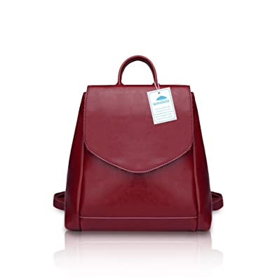 6e3da7fd8206 Yoome Simple Bucket Shape Women Backpack Students Schoolbag Hangbag Tote  Travel Daypack Purse Burgundy