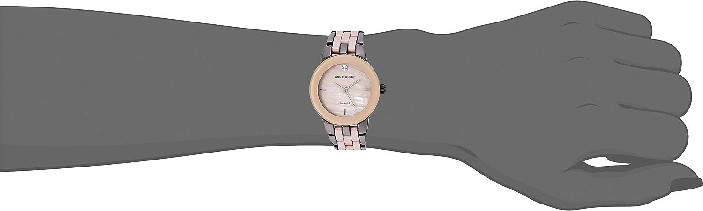 Anne Klein Women's Diamond-Accented Ceramic Bracelet Watch Gunmetal/Taupe