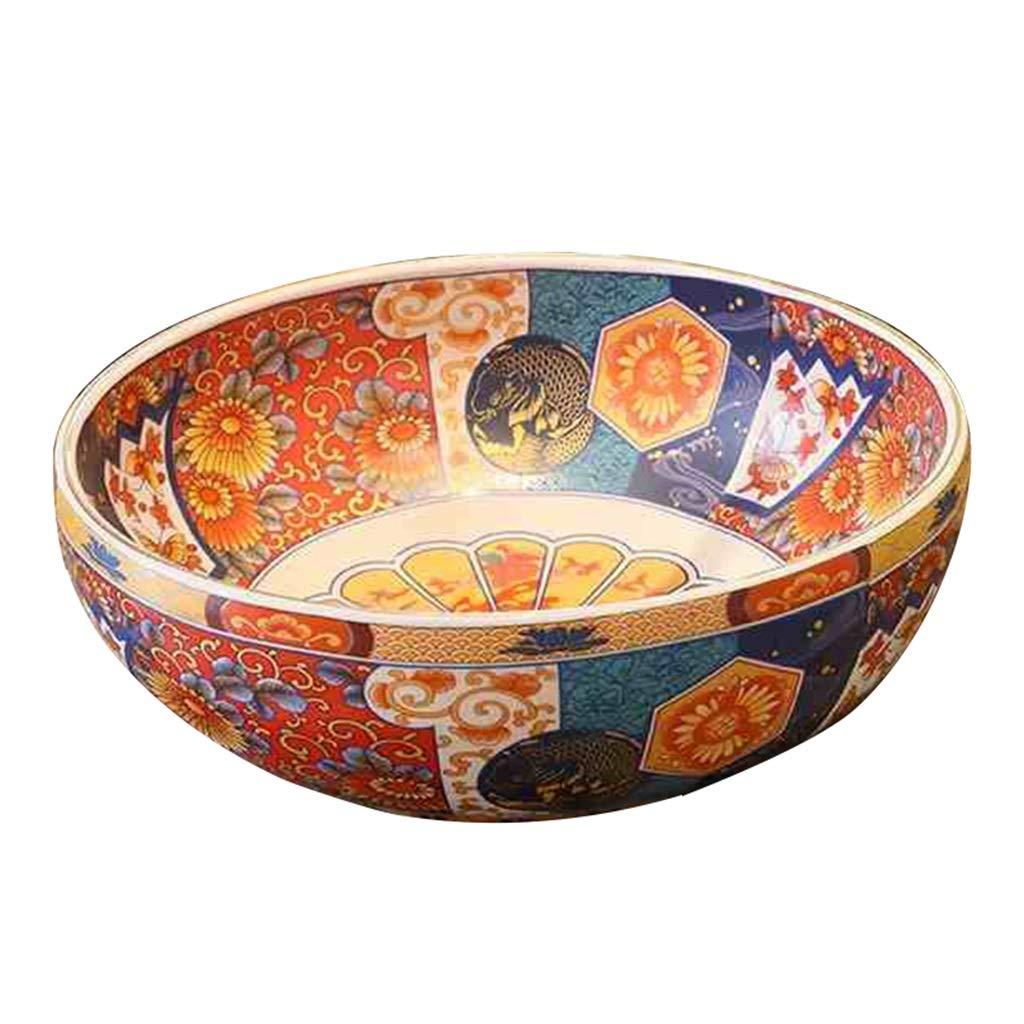 Wash basin Lavabi- Lavabo da bagno Lavabo da appoggio in ceramica retrò in stile americano Lavabo rotondo in ceramica sopra casa Global Shopping Mall
