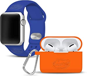 AFFINITY BANDS Florida Gators Debossed Watch Band & Case Cover Combo Package Compatible with Apple Watch and AirPods PRO - 42mm/44mm Blue/Orange