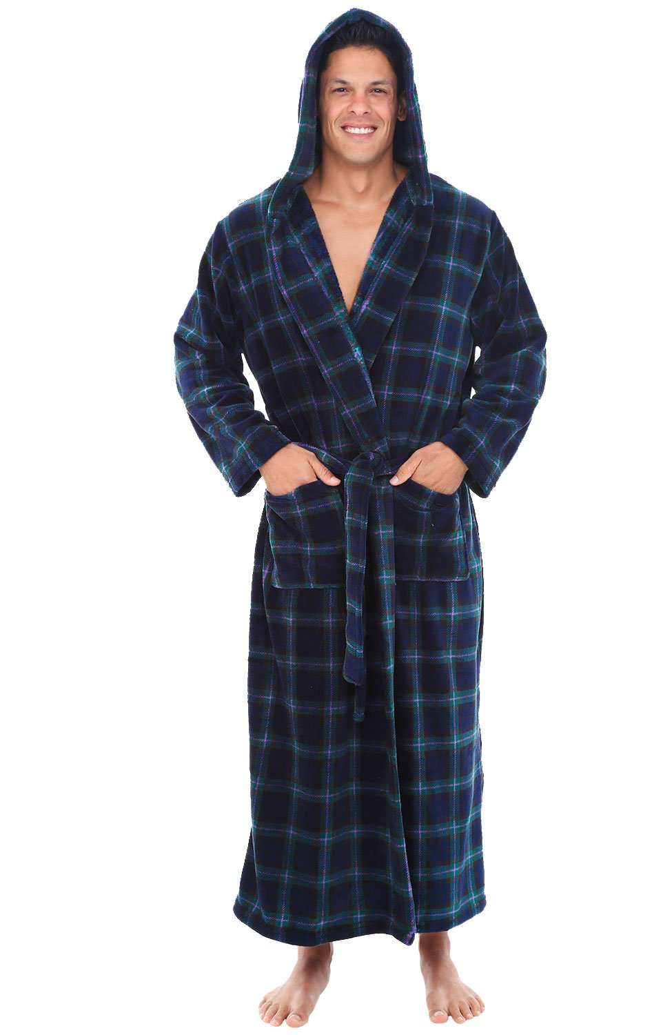 Galleon - Alexander Del Rossa Mens Fleece Robe 17c483aae