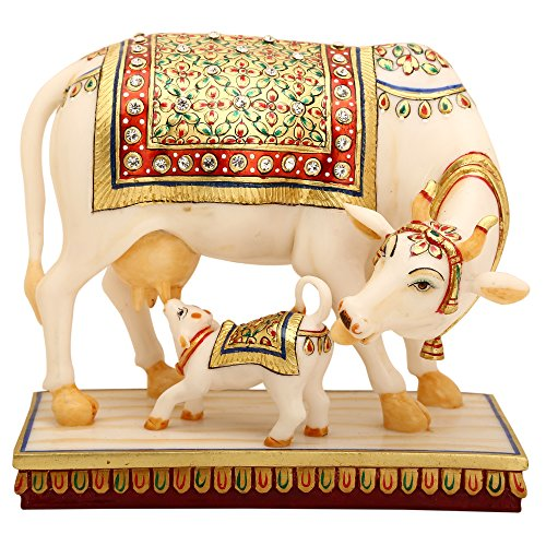 (shivika enterprises Marble Dust Kamdhenu Cow & Calf Brass Sculpture- Religious Kamdhenu Cow Calf Statue-Mother Child Love)