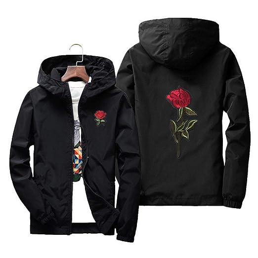 b7db2e01a893 Men's Lightweight Hooded Windbreaker Embroidery Rose Full Zip Windproof  College Jacket