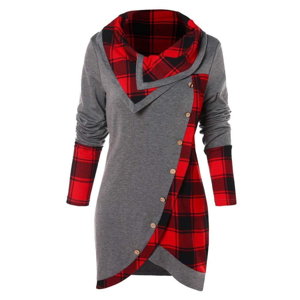 Women Hoodies, Plaid Long Sleeve Irregular Hem Sweatshirts Button Turtleneck Tartan HoodiesTunic Pullover Tops Jinjiums