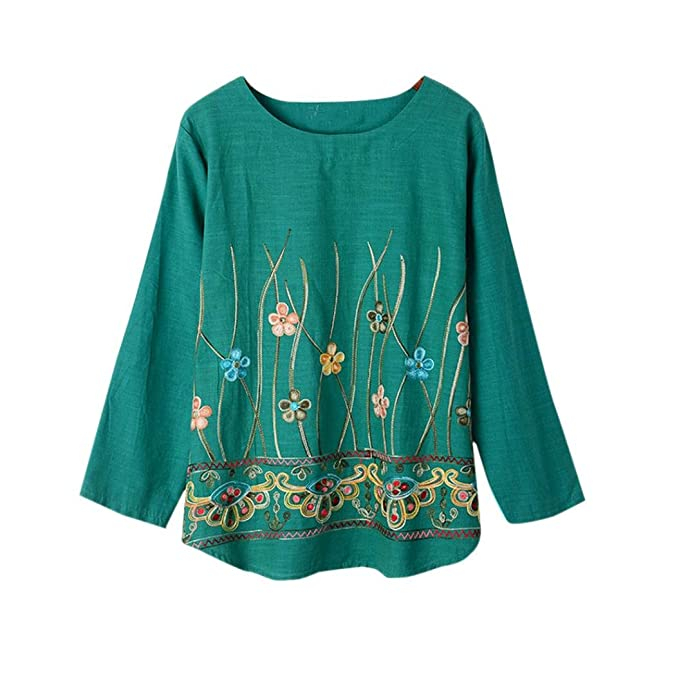 Yannerr mujer primavera bordado aplique estampada cuello redondo suelta casual manga larga básica inferior camiseta tops