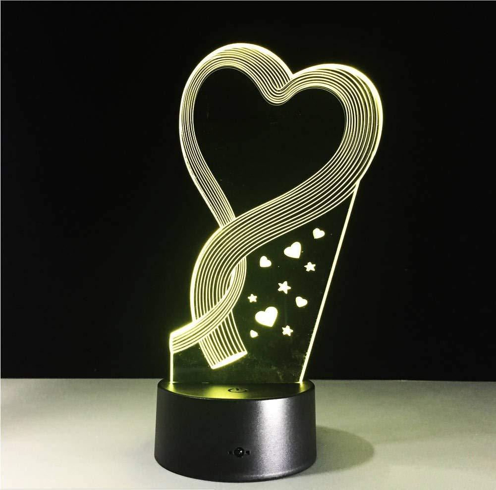 Lampada Da Tavolo A Forma Di Cuore 3d Led Illusion Led Con 7 Colori Che Cambiano