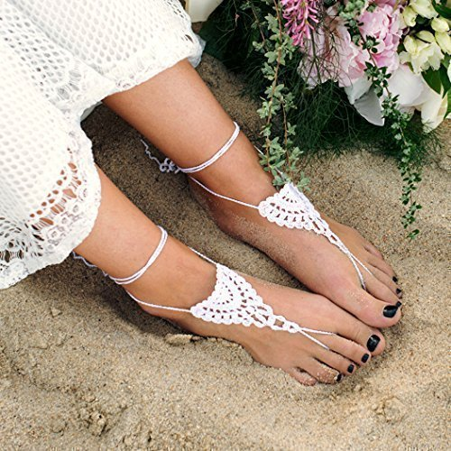 Amazoncom Bridal Barefoot Sandals in White Beach Wedding Foot