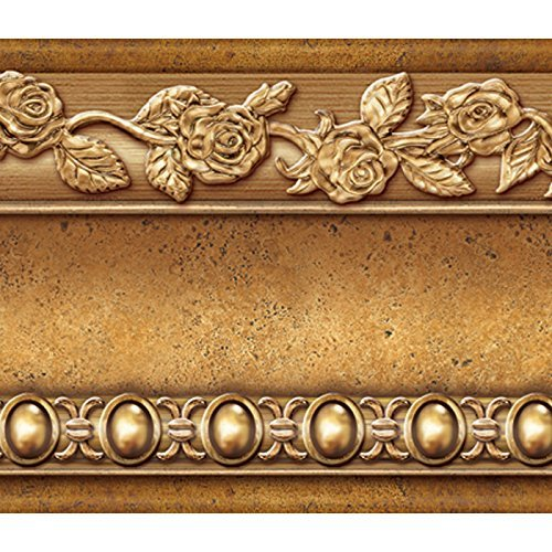 Flower Molding Peel and Stick Wall Border Easy to Apply (Gold -